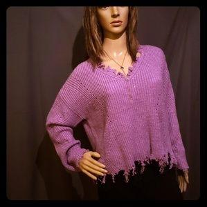 A New Day frayed hem Purple Sweater v neck Size L